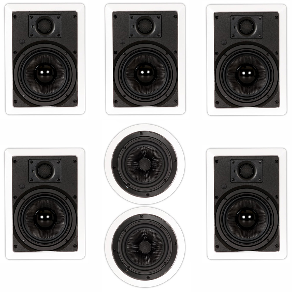 "Theater Solutions TSS-67 Deluxe 6.5"" In Wall and Ceiling Home Theater 7 Speaker Set by Theater Solutions by Goldwood"