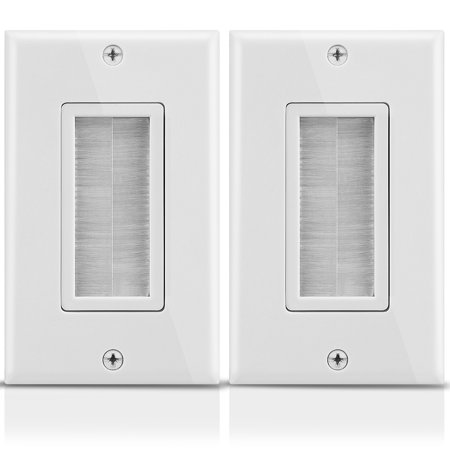 Fosmon 2Pack 1 Gang Universal Wall Plate with Brush Style Opening - White
