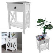 Peroptimist Side End Table Night Stand Storage Shelf with Bin Drawer,Side Intersection Style Bedside Table Coffee Table with Two-Layer Drawer White