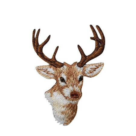 Deer Head - Natural - White Tail - 8 Point - Iron on Applique/Embroidered Patch ()