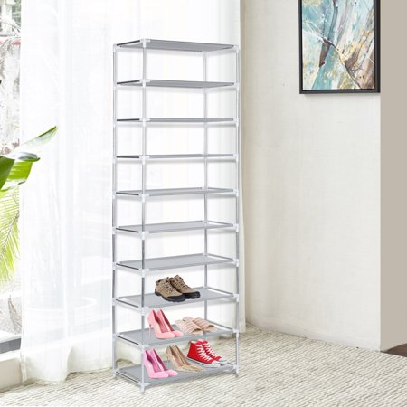 musiccrazyor 10 Tier Metal Shoe Rack Shoes Stand Removable Dust-Shelves Storage Organizer Shelf Holder Stackable Closet For 30 Pair Shoes