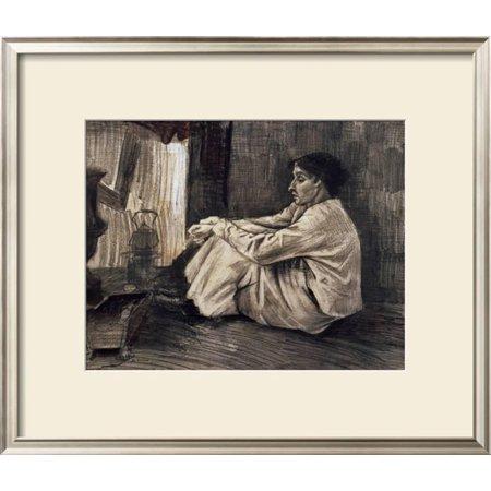 - Sien with Cigar Sitting on the Floor Near Stove Framed Art Print Wall Art  - 26.5x23