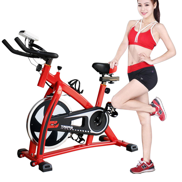 Stationery Exercise Bike, Upright Static Bicycle Cycling Machine Equipment, for Indoor Gym Cardio Fitness Workout, with LED Screen