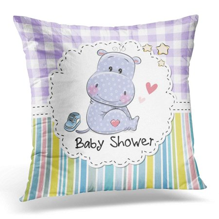 Arhome Blue Announcement With Cute Cartoon Hippo Baby Throw Pillow Case Pillow Cover Sofa Home Decor 16x16 Inches Walmart Com Walmart Com