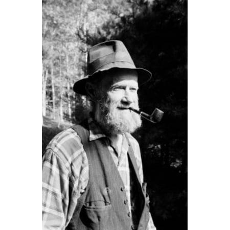 Senior man smoking pipe Canvas Art - (24 x 36)