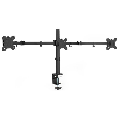 VIVO Black Triple Monitor Adjustable Desk Mount - Articulating Tri Stand holds Three Screens up to 24