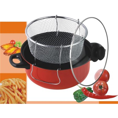 Gourmet Chef 4.5 Qt. Non Stick Deep Fryer With Frying Basket & Glass Cover. - Stick Flyer