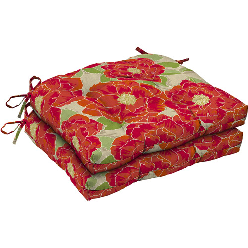 Mainstays Wicker Outdoor Chair Cushion, Set of 2, Red Posey