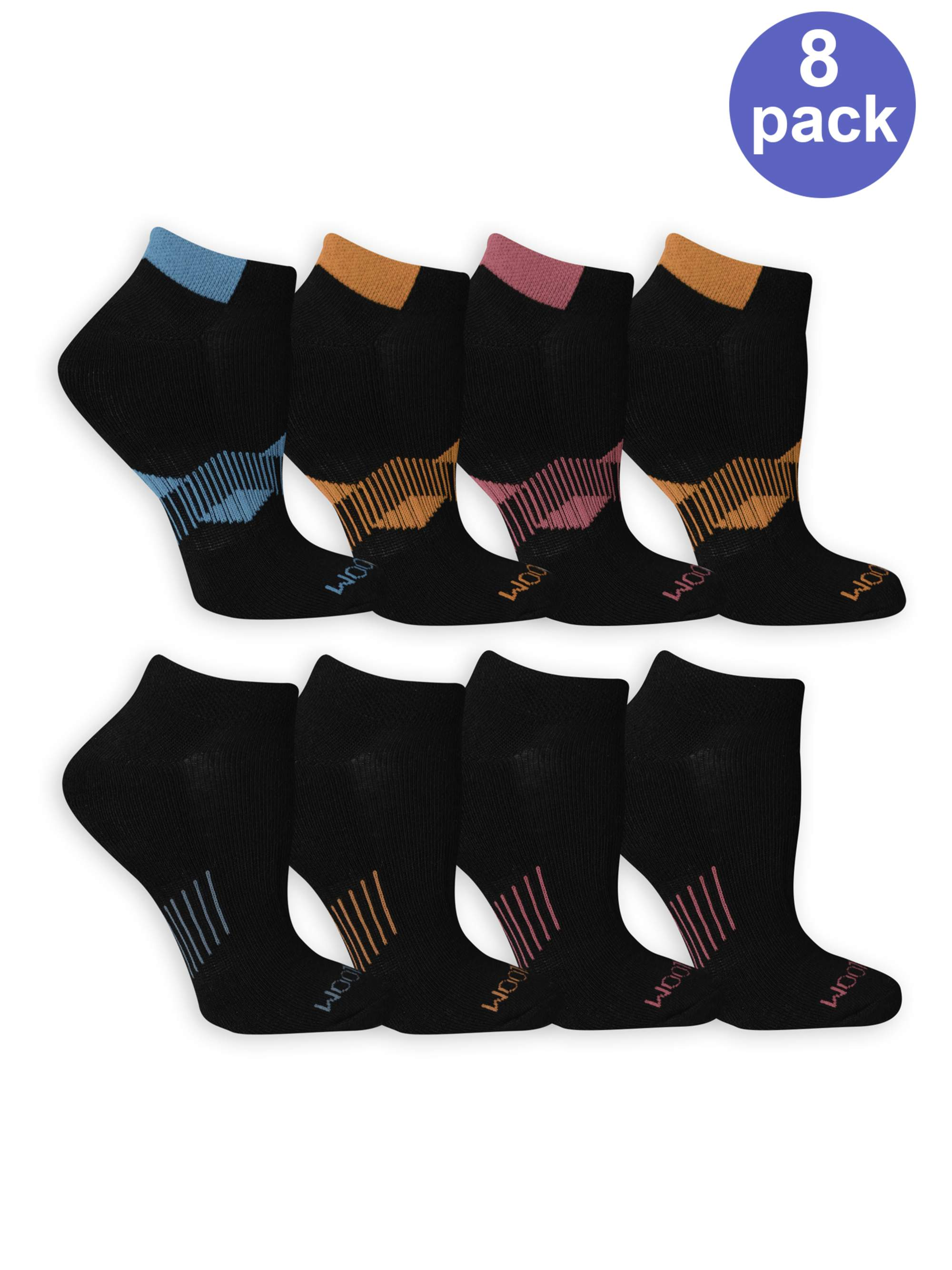 Women's Everyday Active Cushioned No Show Socks 8 Pair