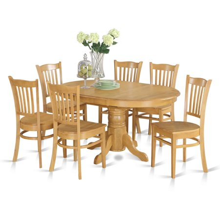 East West Furniture Avon 7 Piece Pedestal Oval Dining Table Set with Groton Wooden Seat Chairs
