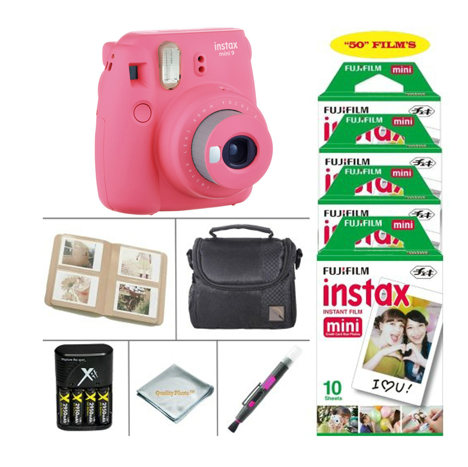 Fujifilm Instax Mini 9 Ice Blue Camera + Accessory kit for Fujifilm Instant Camera, includes Fuji Instax Film 50 Sheets + 4 Battery & Charger + Photo Album + Instax Case + MORE