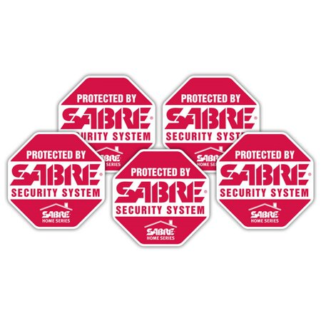 - SABRE Security Signs - Home Security Decals - 5 Bright Red, Stop Sign Shaped Security Stickers