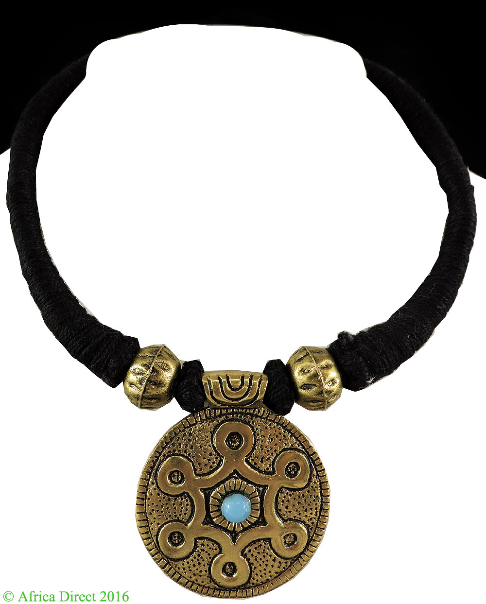 Tibetan Choker Necklace Brass Turquoise Color Pendant by
