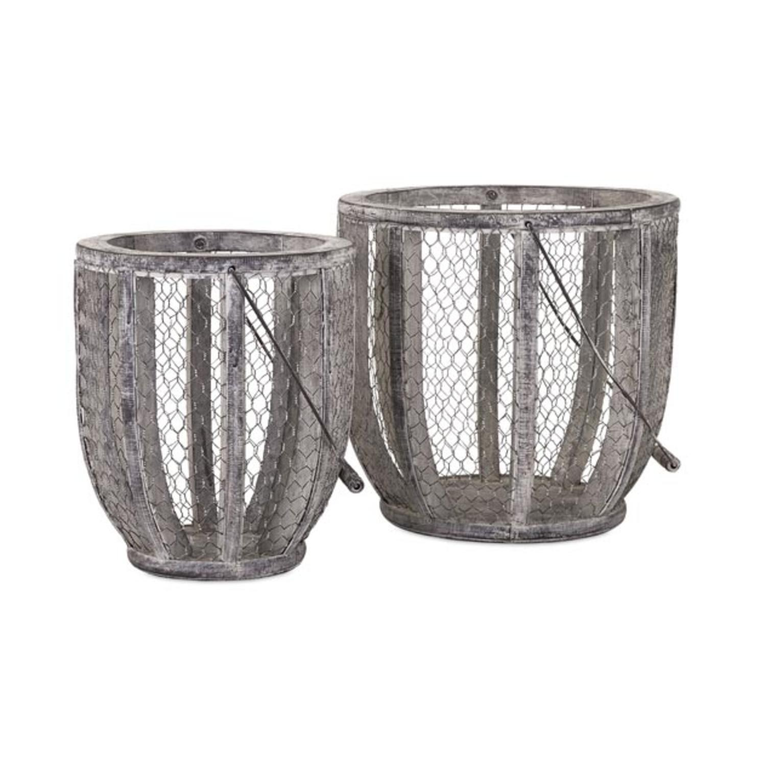 Set of 2 Farm House Country Rustic White and Gray Wire Mesh Gathering Baskets 24.5""