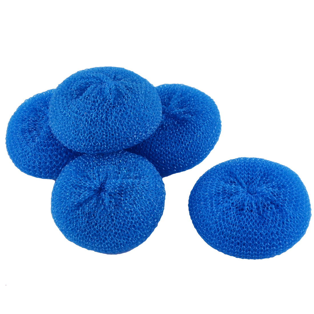 Unique Bargains 5pcs Blue Kitchen Dish Pot Pan Plastic Mesh Scouring Washing Cleaning Cleaner Scrubber Pad
