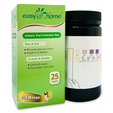 Easy@Home Urinary Tract Infection UTI Test Strips, Monitor Bladder by Testing Urine, 25 tests per Bottle-FDA Approved for Over the Counter/OTC USE, Urinalysis detects Leukocytes, Nitrite (Best Thing For Uti)