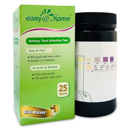Easy@Home Urinary Tract Infection UTI Test Strips, Monitor Bladder by Testing Urine, 25 tests per Bottle-FDA Approved for Over the Counter/OTC USE, Urinalysis detects Leukocytes, Nitrite