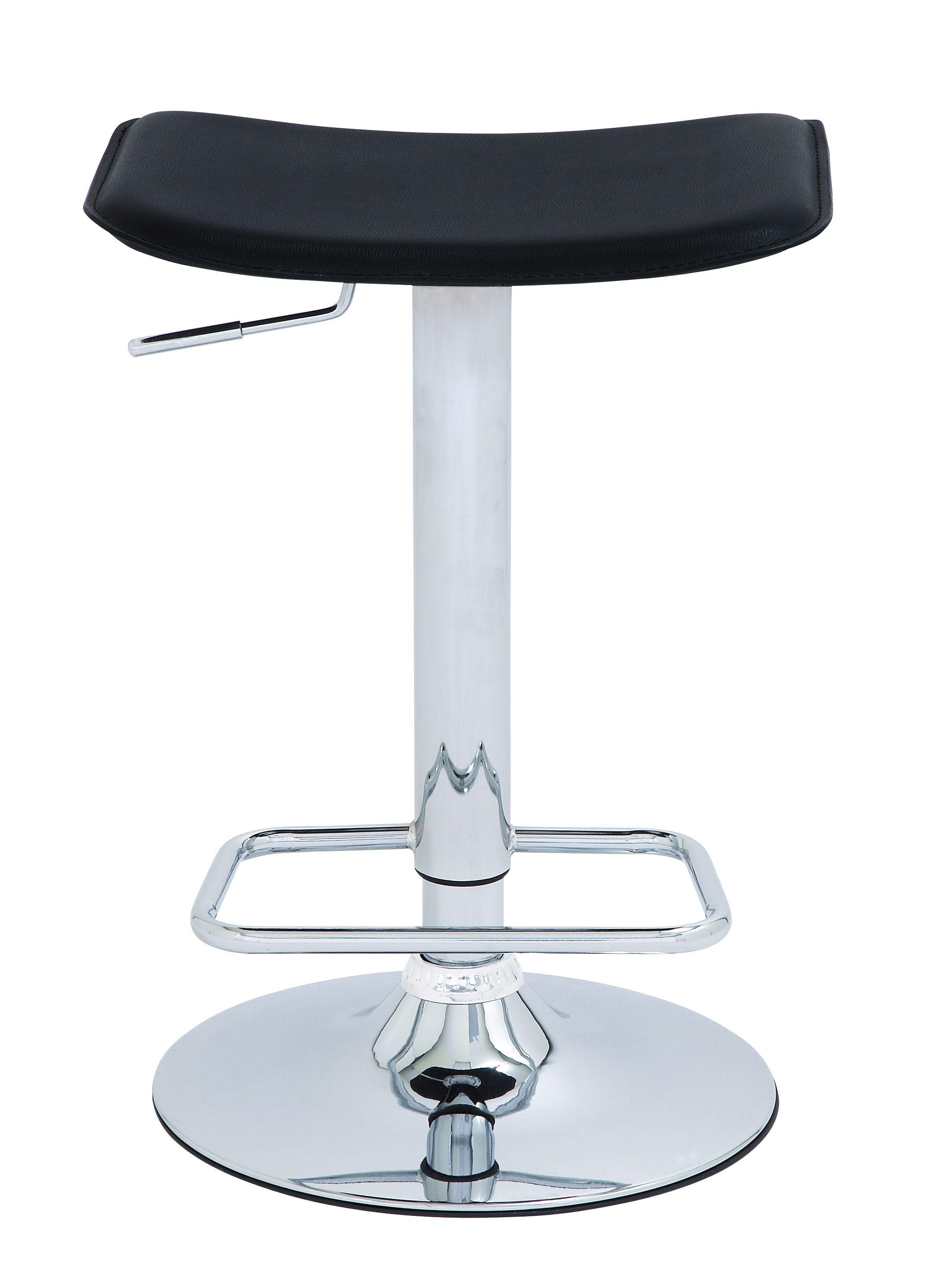 Modern Inspired Bar Stool Silver Chrome Black Seat Kitchen Decor 38950 Walmart Com