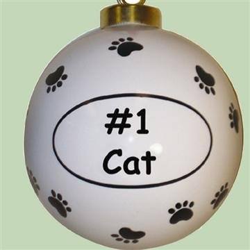 "Round Ceramic Christmas Ornament ""#1 Cat"""