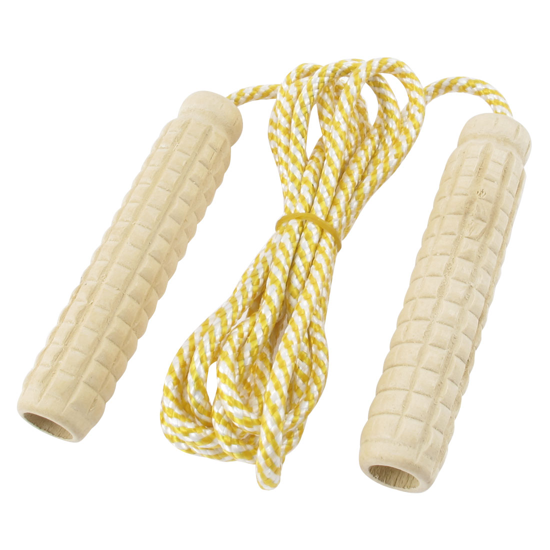 Yellow Nylon Stripe String Plastic Grip Jump Fitness Exercise Skipping Rope