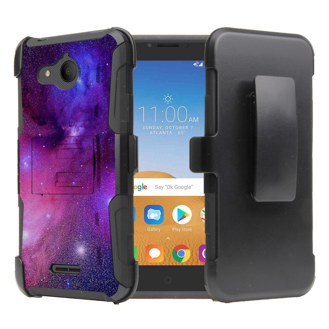 Rugged Series Case Compatible with Alcatel Tetra - Heavy Duty Armor Cover Case with Built-in Stand and Swivel Belt Clip Holster for Alcatel Tetra - Purple Nebula