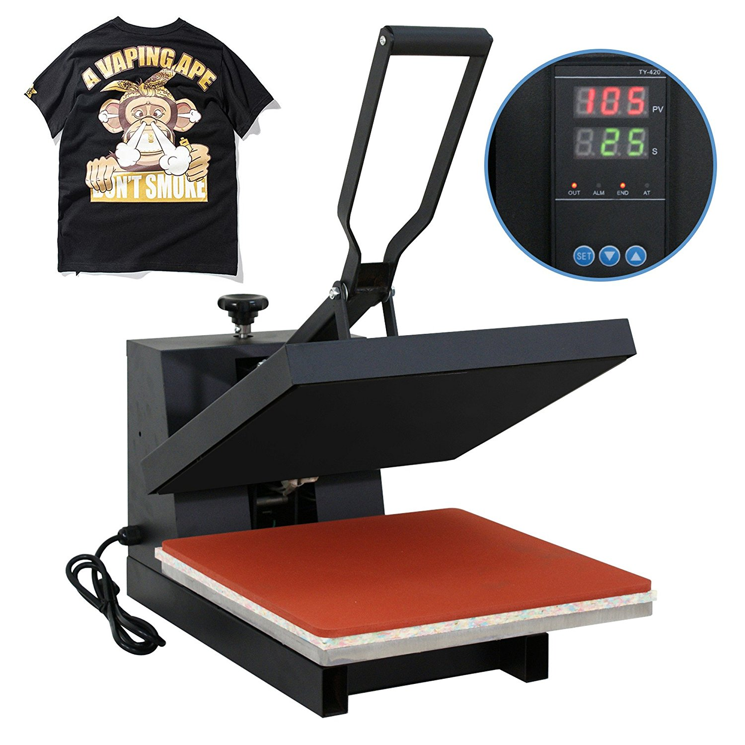 "Zimtown Professional 15"" x 15"" Heat Press Machine, Swing Away 360-degree Rotation Digital Heat Transfer Sublimation Machine for Industrial Printing T shirt"