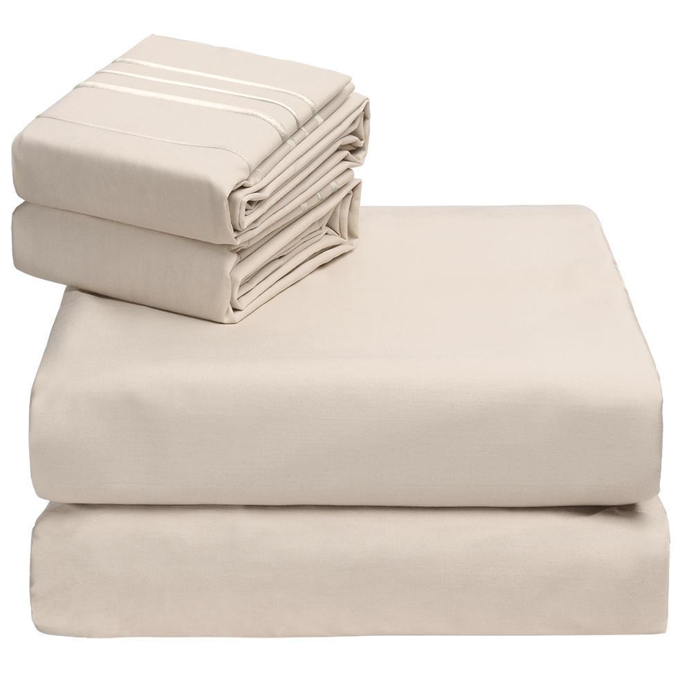 Bedding Sheet Setdeep Pocket Fitted Sheetflat Sheetpillowcases