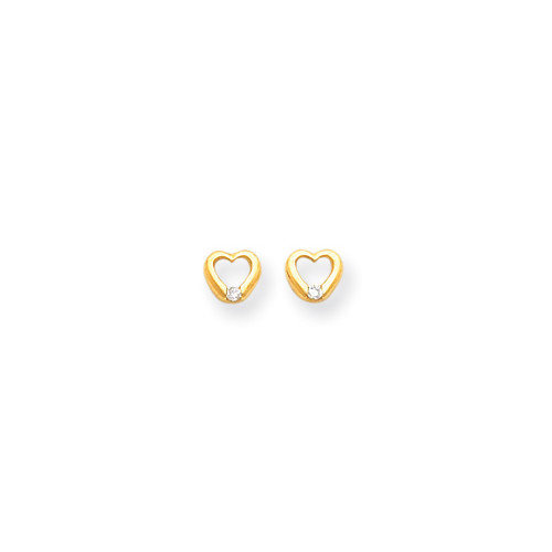 Jewelryweb 14k CZ Heart Childrens Earrings
