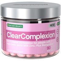 Nature's Bounty ClearComplexion Dietary Supplement with Zinc + Manganese, Acne Relief for a Clearer Complexion for People with Non-Cystic Acne , 90 Softgels