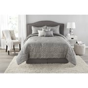 Mainstays Gray Medallion 7-Piece Bedding Comforter Set