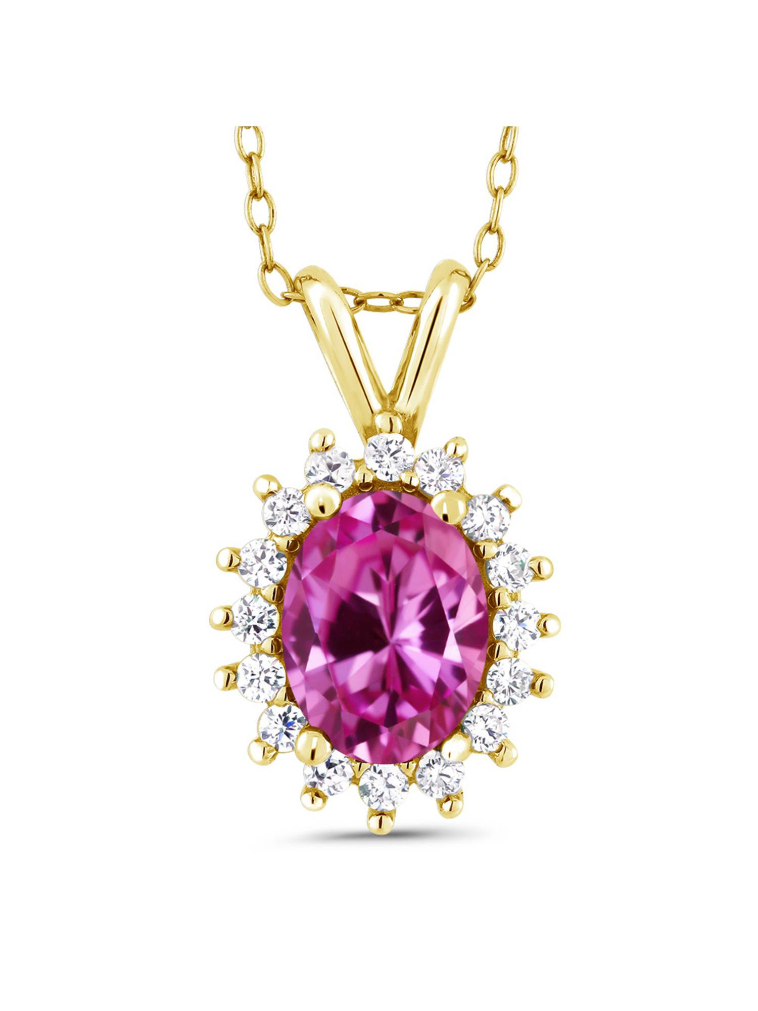 1.89 Ct Oval Pink Created Sapphire 14K Yellow Gold Pendant by