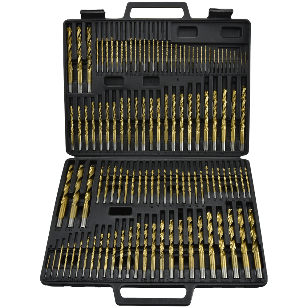 Hiltex 115pc Titanium Drill Bit Set Steel & Wood Carpenter Masonry Hobby w/ Index Case
