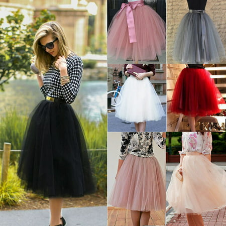 7 Layer Tulle Skirt Womens Vintage Dress 50s Rockabilly Tutu Petticoat Ball Gown Woman&Girls