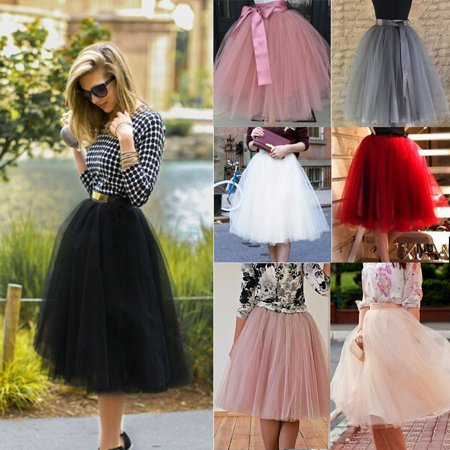 7 Layer Tulle Skirt Womens Vintage Dress 50s Rockabilly Tutu Petticoat Ball Gown Woman&Girls](Flower Girl Dress With Tulle Skirt)