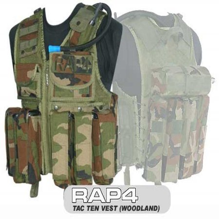 Tactical Ten Paintball Vest (Woodland) - Regular Size - paintball chest protector