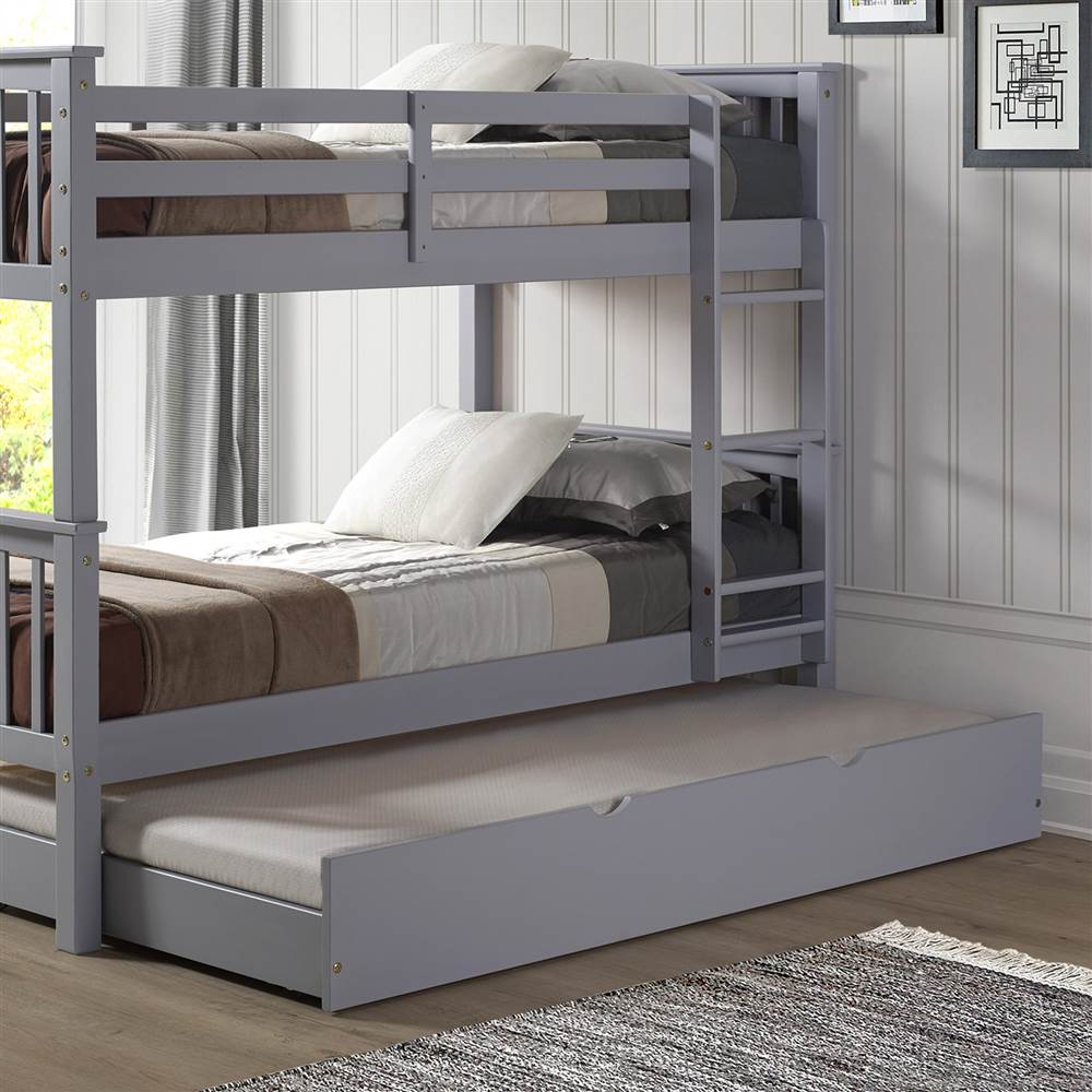 Solid Wood Twin Trundle Bed Grey by Walker Edison Furniture Company, LLC