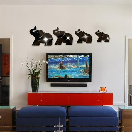Jesuscrandsall 4pcs Elephant Mirror Wall Sticker Decor Art DIY Home Decal Mural New