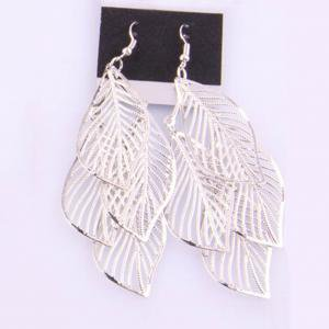 Fancyleo 2 Pairs Leaf Cluster Dangle Earrings for Women Girls-Gold /Silver /Black Colors