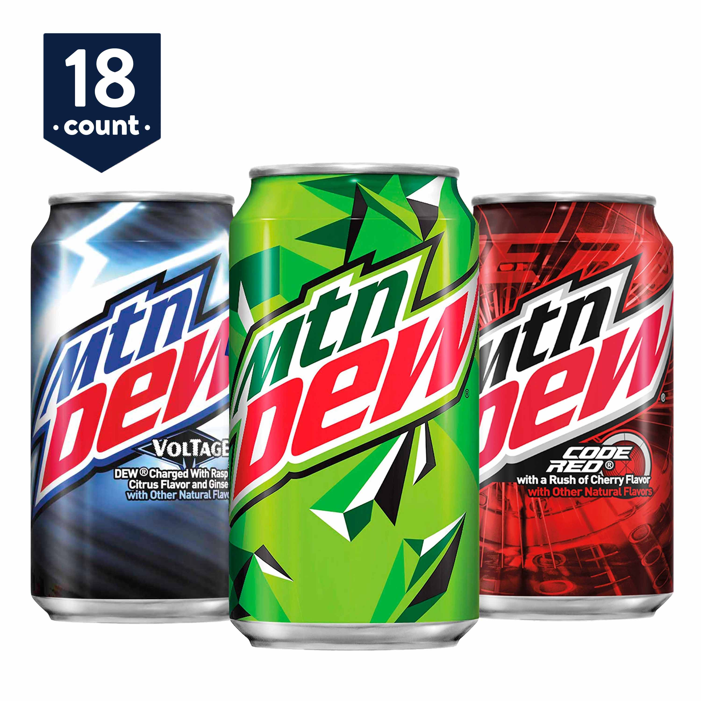 Mtn Dew Variety Pack Dew Code Red Voltage 12 Oz Cans 18 Count Walmart Com Walmart Com