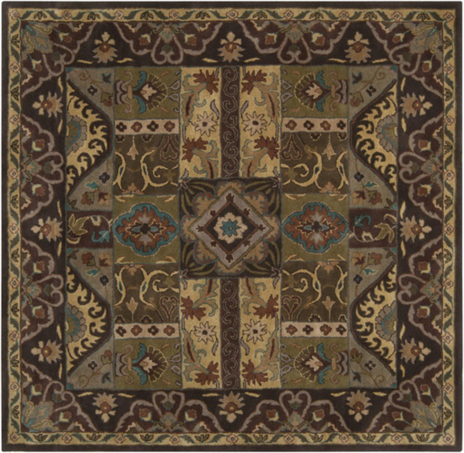 9.75' x 9.75' Vitellius Teal Green & Dark Brown Hand Tufted Wool Area Throw Rug