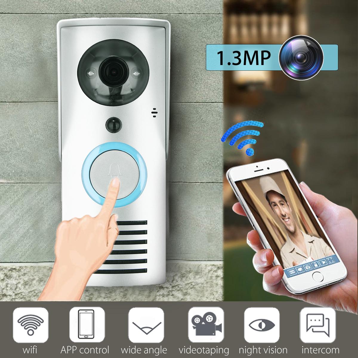 WIFI Wireless Smart Home Night Visual Video Door Bell Security 720P Camera Phone App Control Intercom Alarm Clear Night Vision Doorbell