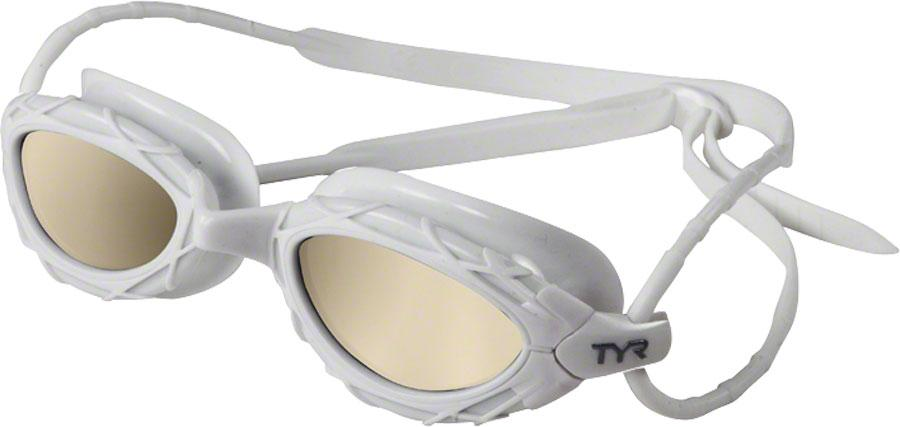 TYR Nest Pro Nano Mirrored Goggle: White Frame Metallized White by TYR