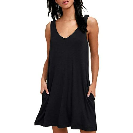 41abaea66f89 FRESHLOOK - Women Summer Casual T Shirt Dresses Beach Cover up Plain  Pleated Tank Dress - Walmart.com