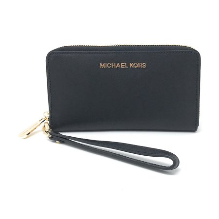Michael Kors Jet Set Travel Large Multifunction Smartphone Saffiano Leather Wristlet Case, Black