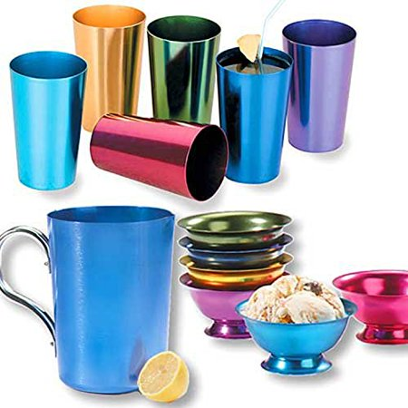 RETRO ALUMINUM TUMBLERS NON BREAKABLE CUPS SET OF 6