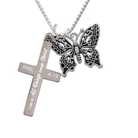 Silvertone Large Fancy Butterfly - I Can Do All Things - Cross - Cana Cross