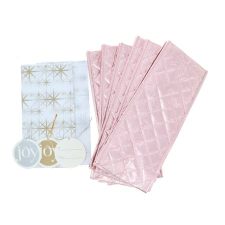 JOY 6Pc Metallic Quilted Wine Gift Bags 621-222
