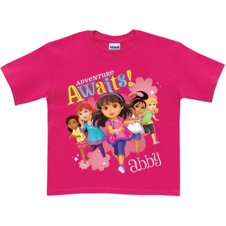 Personalized Dora and Friends Adventure Awaits Girls' T-Shirt, Hot Pink