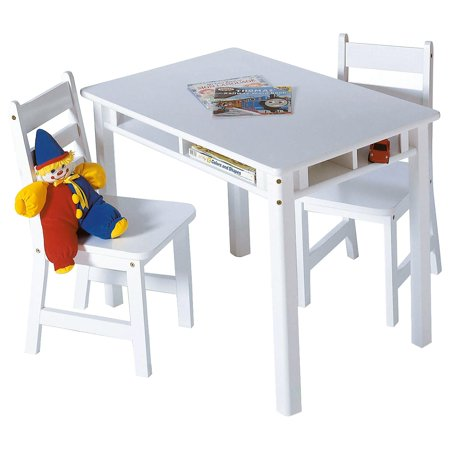 Lipper Childrens Rectangular Table and 2 Chairs Set with Shelves, Multiple Colors