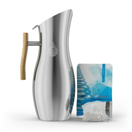 pH VITALITY Stainless Steel Alkaline Water Pitcher - Alkaline Water Filter Pitcher by Invigorated Water - High pH Ionized Filtered Water Purifier - Long Life Filter, NEW 2019 Model, 64oz